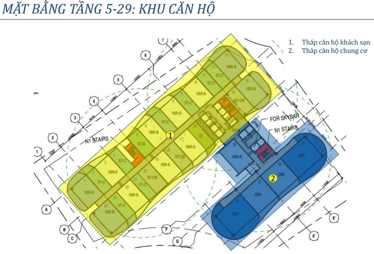 Mặt bằng tầng 5 - 29 chung cư Condotel BIM Group Hạ Long
